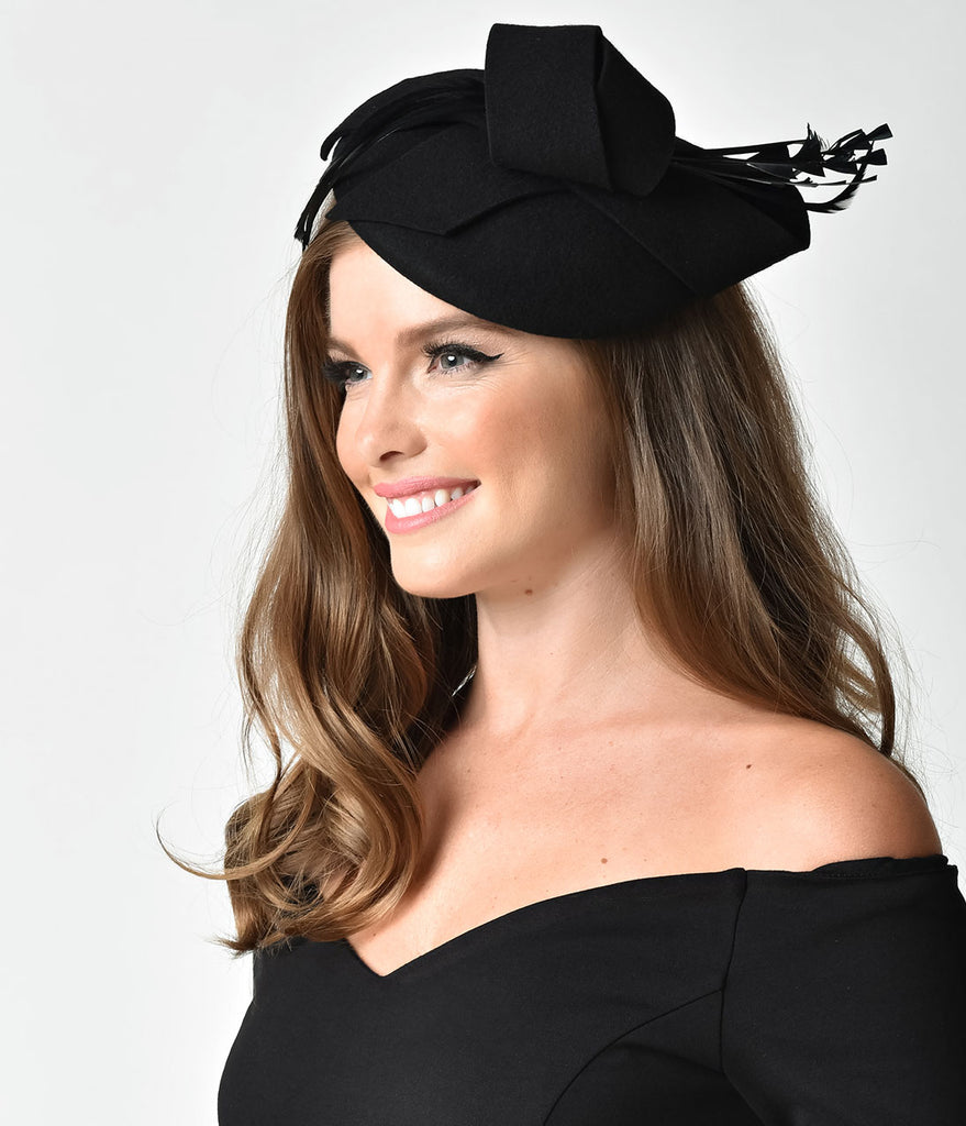 Unique Vintage Black Wool Round Bow & Feather Fascinator