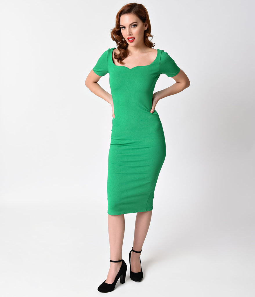 Unique Vintage Bright Green Short Sleeve Harris Knit Wiggle Dress