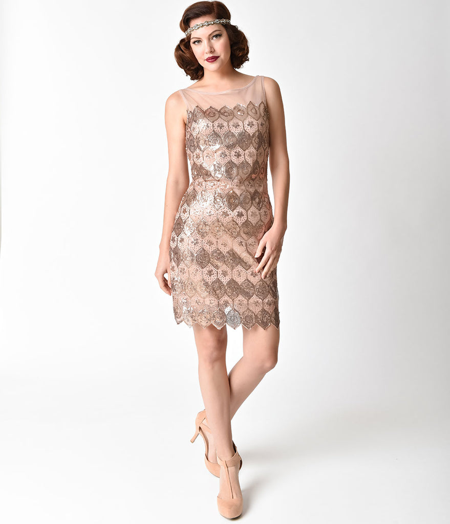 Unique Vintage Bronze Geometric Sequin Deco Clifton Flapper Dress