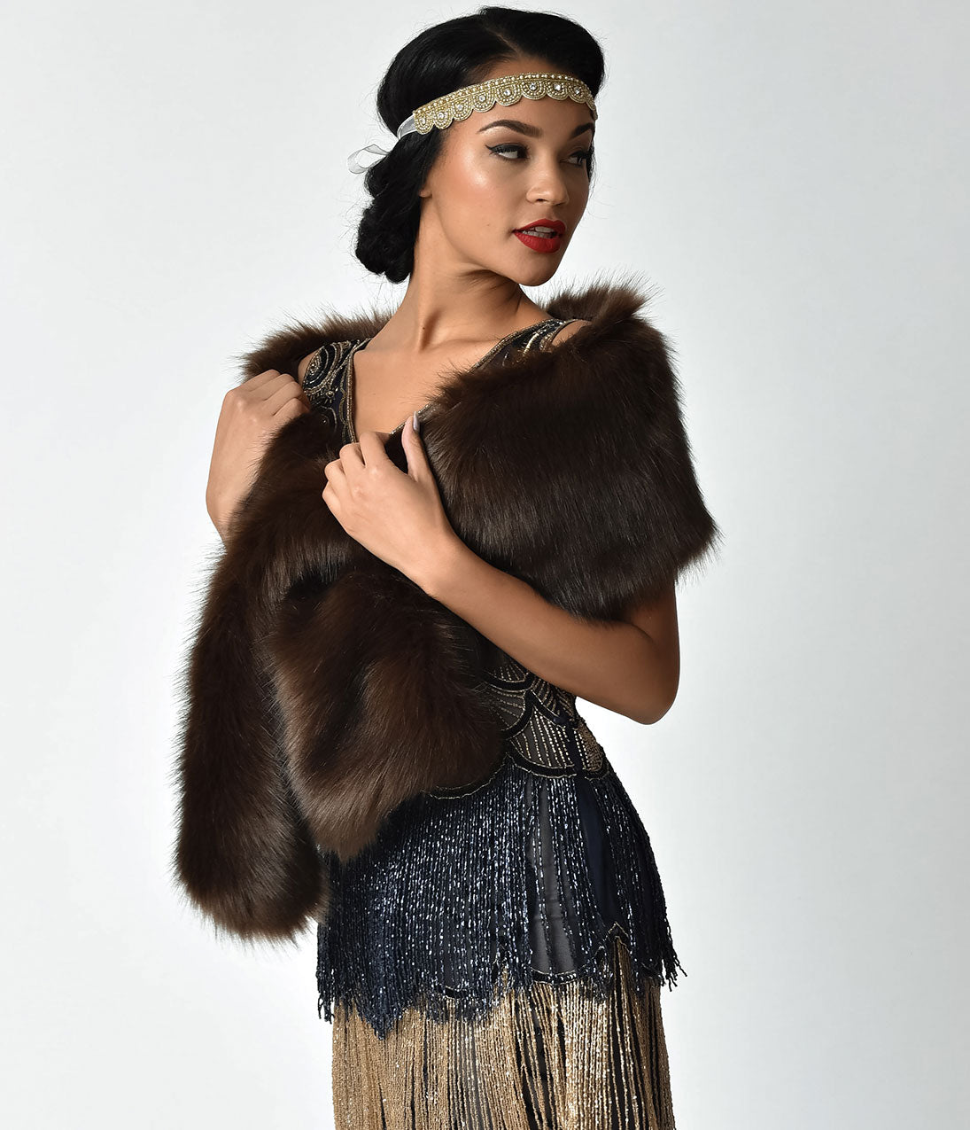 1920s Style Shawls, Wraps, Scarves Unique Vintage Brown Faux Fur Stole $68.00 AT vintagedancer.com