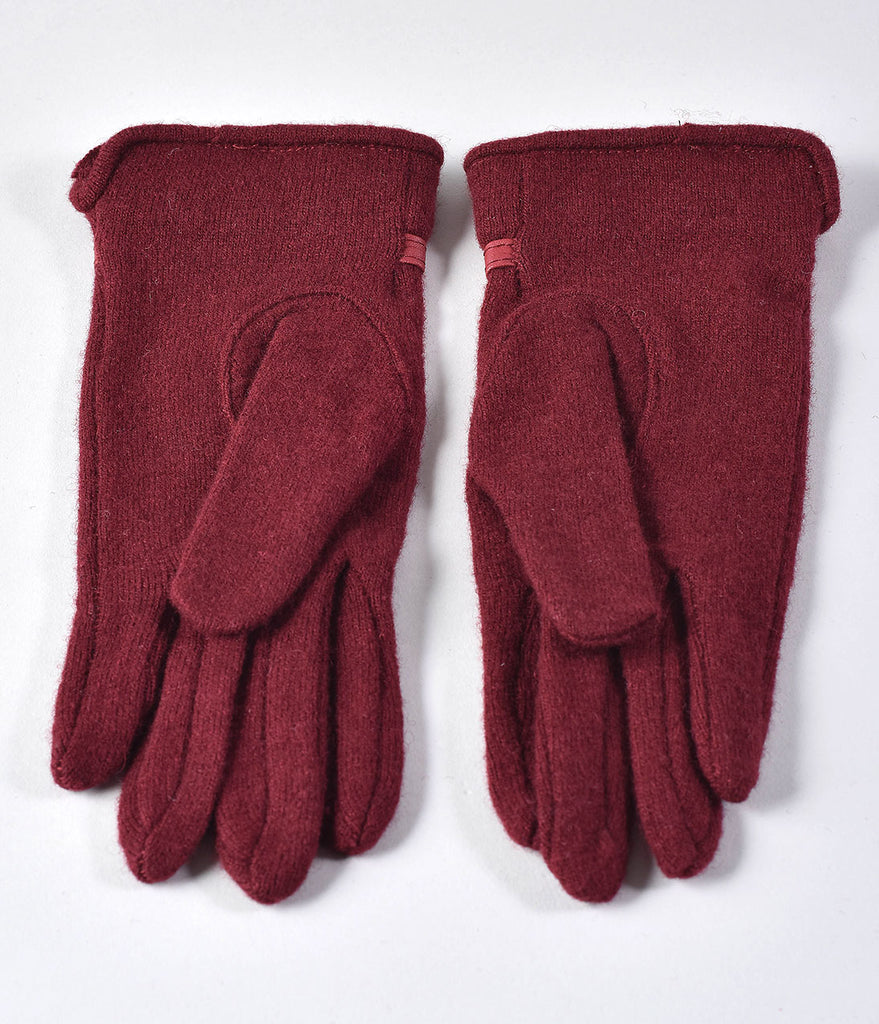 Unique Vintage Burgundy Wool Buckle Trim Wrist Gloves
