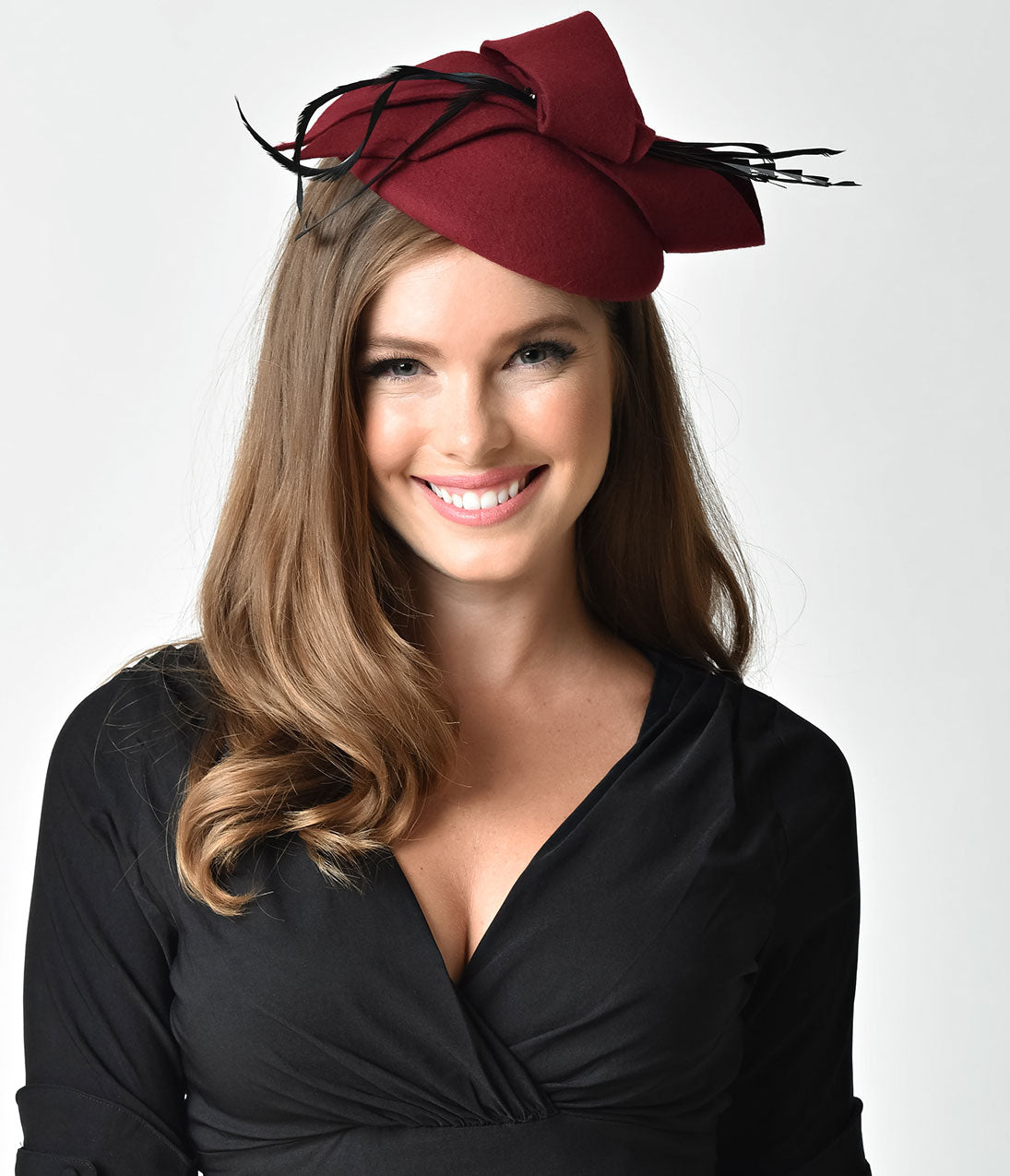 1940s Style Hats Unique Vintage Burgundy Wool Round Bow  Feather Fascinator $43.00 AT vintagedancer.com