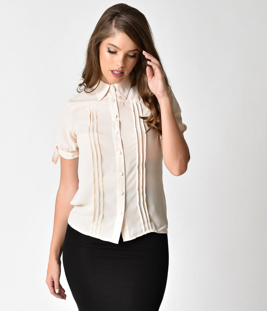 Unique Vintage Cream Chiffon Button Up Short Sleeve Colvin Blouse