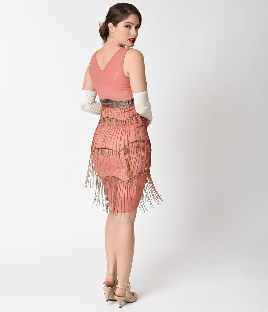 Unique Vintage Dark Rose Beaded Fringe Countess Flapper Dress