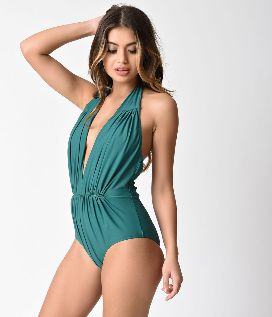 Unique Vintage Emerald Green Halter Shirred Derek One Piece Swimsuit