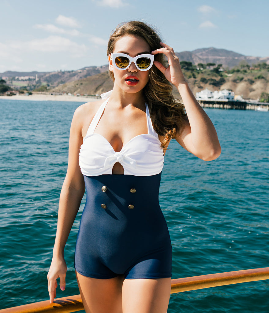 Unique Vintage Garbo Navy & White One-Piece Retro Halter Swimsuit