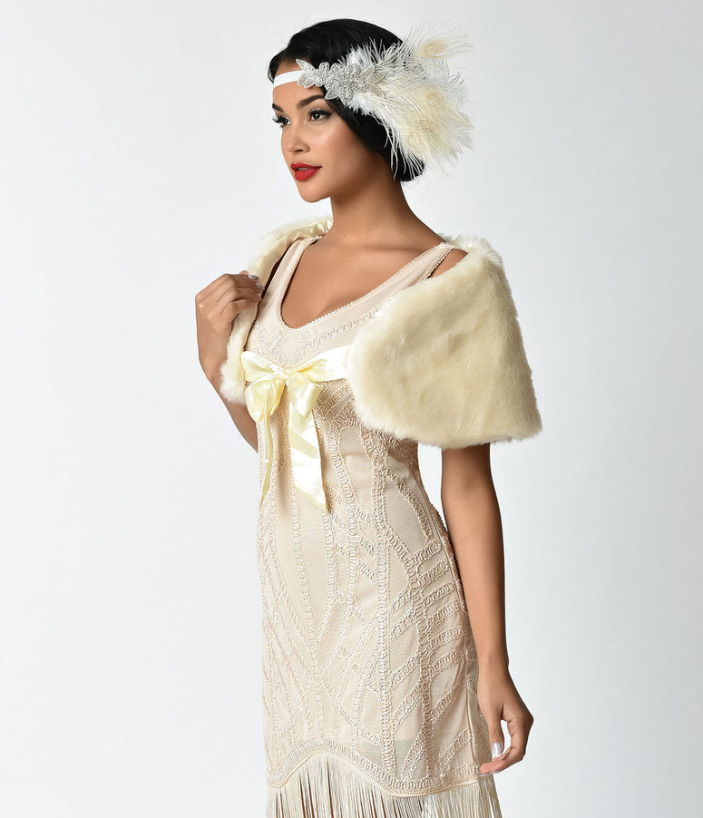 Unique Vintage Ivory Faux Fur Ribbon Tie Shrug