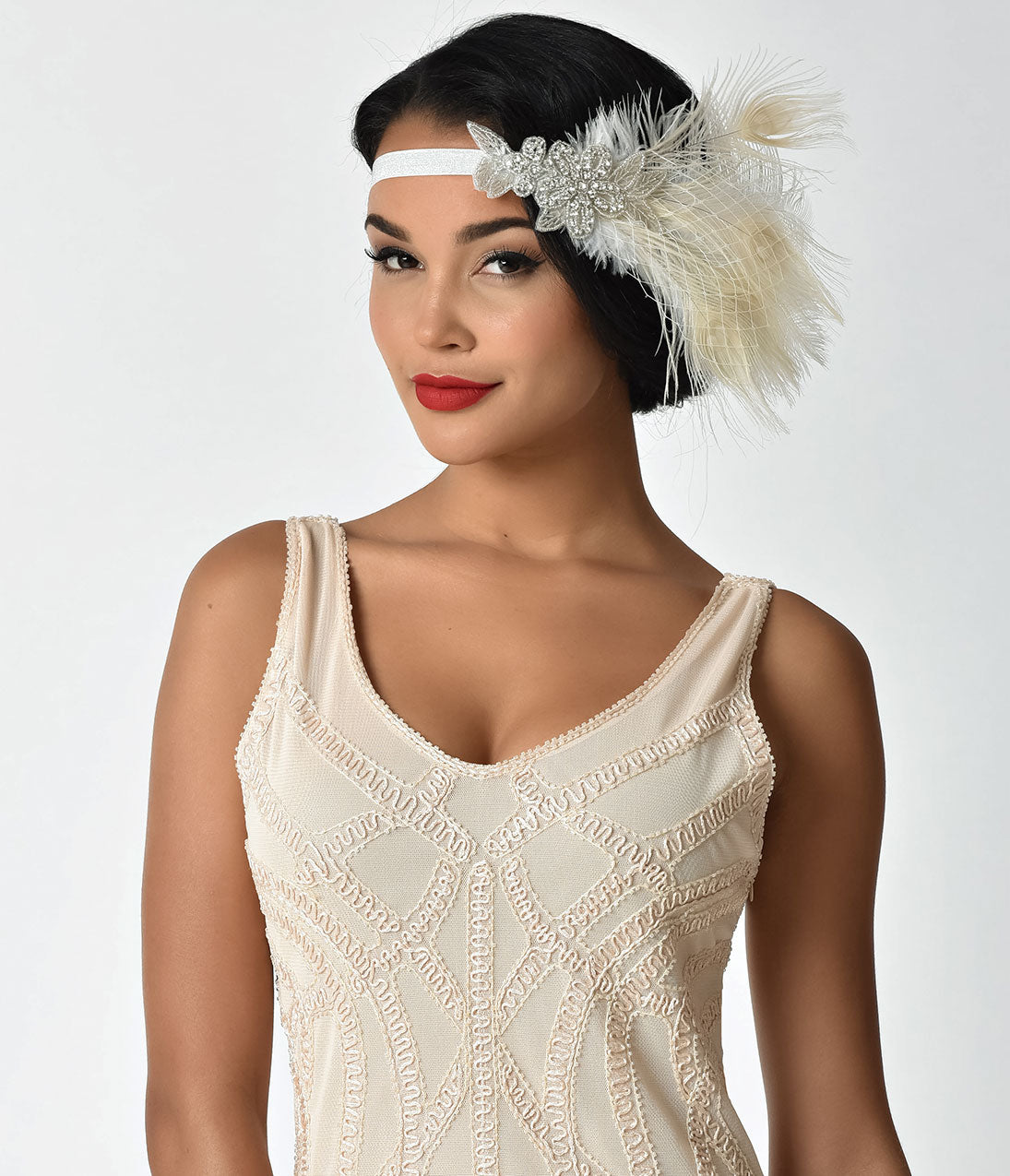 Vintage Hair Accessories: Combs, Headbands, Flowers, Scarf, Wigs Unique Vintage Ivory Peacock Feather  Silver Sparkle Stretch Headband $28.00 AT vintagedancer.com