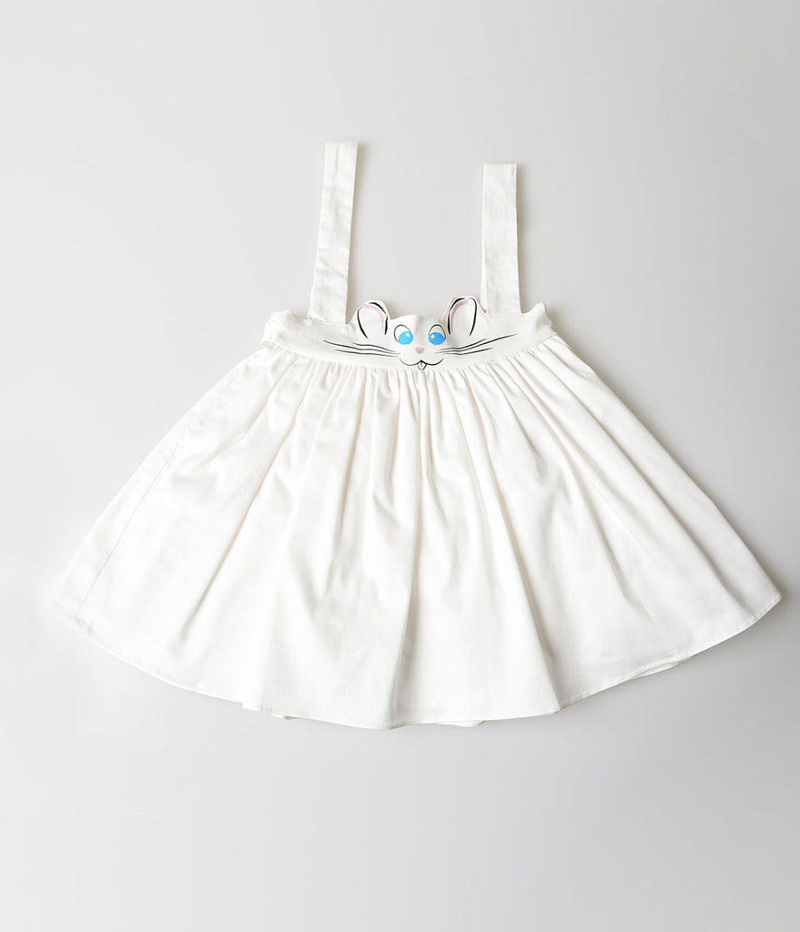Unique Vintage Kids Sabrina White Bunny Suspender Skirt