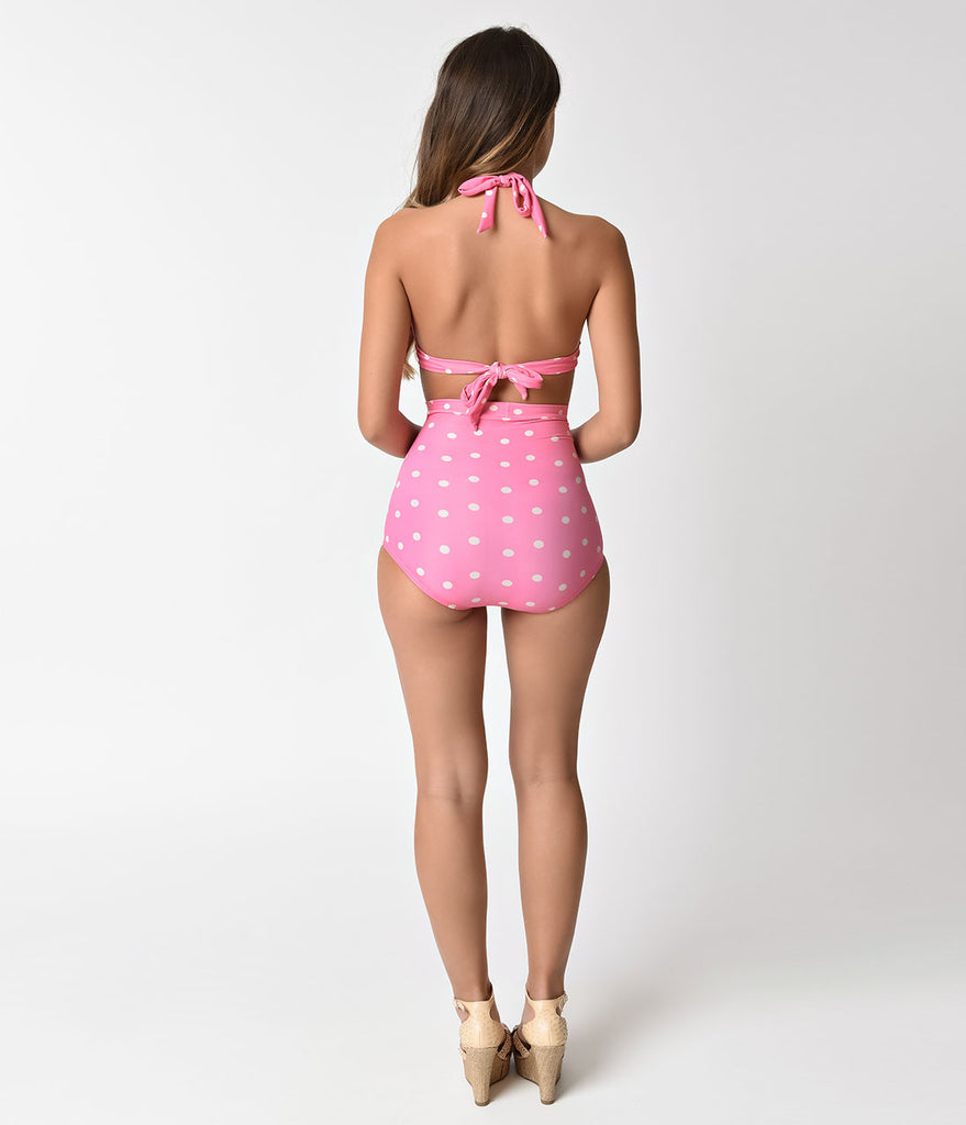 Unique Vintage Light Pink & Cream Dotted Monroe Swim Bottom
