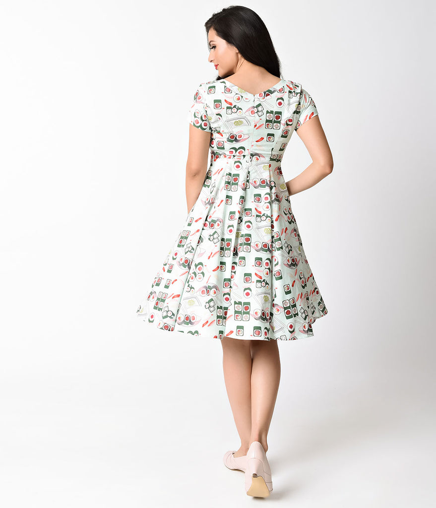Unique Vintage Mint & Sushi Short Sleeve Phoebe Swing Dress