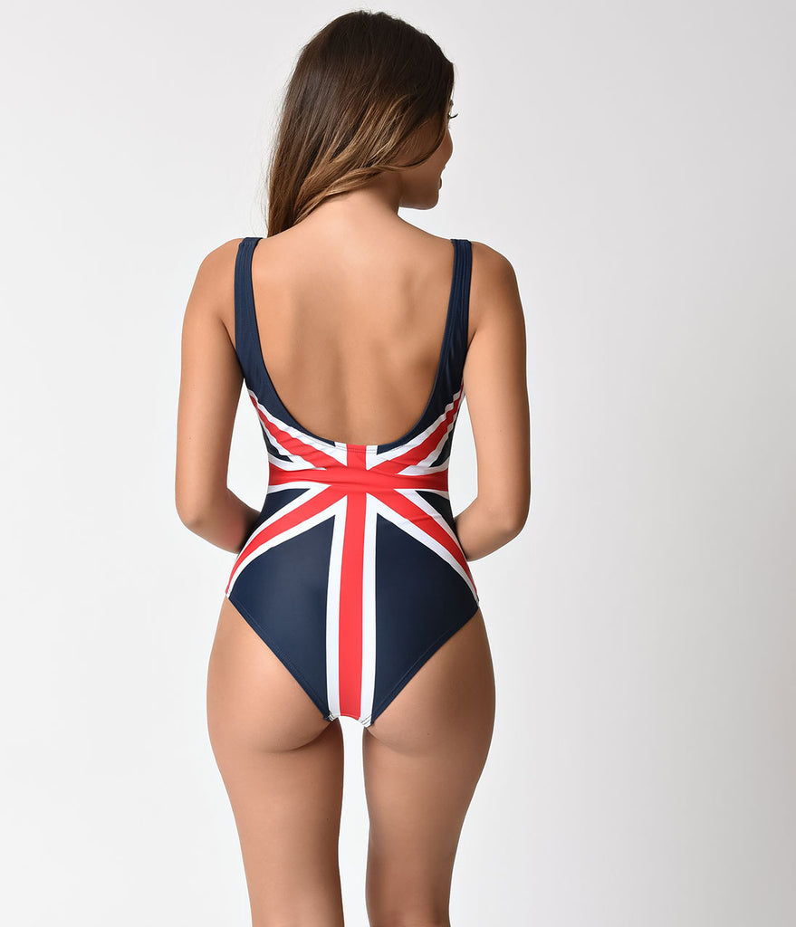 Unique Vintage Mrs. Parker Union Jack One Piece Swimsuit