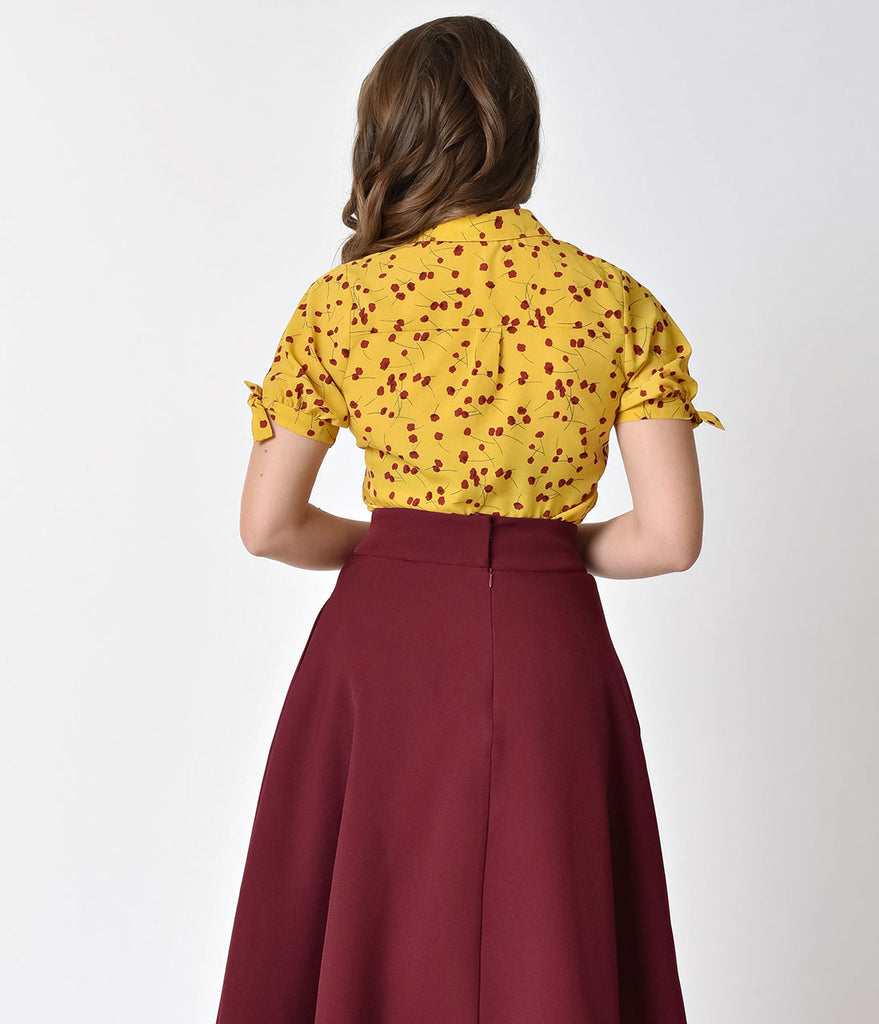 Unique Vintage Mustard Yellow & Red Floral Button Up Colvin Blouse