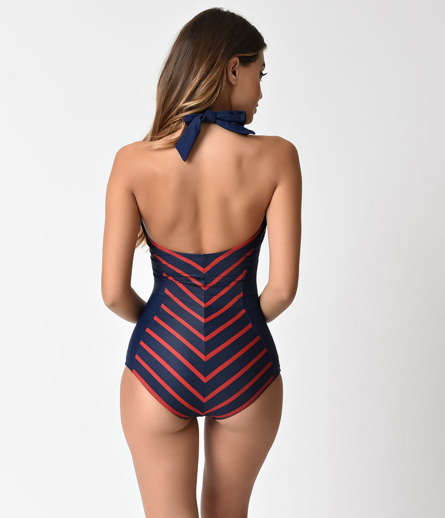 Unique Vintage Navy Blue & Red Chevron Stripe Bogart Halter Swimsuit