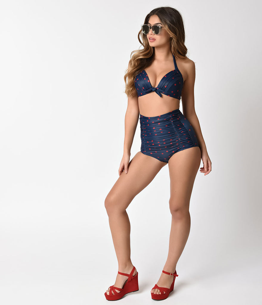 Unique Vintage Navy Blue & Red Dotted Monroe High Waist Bottom