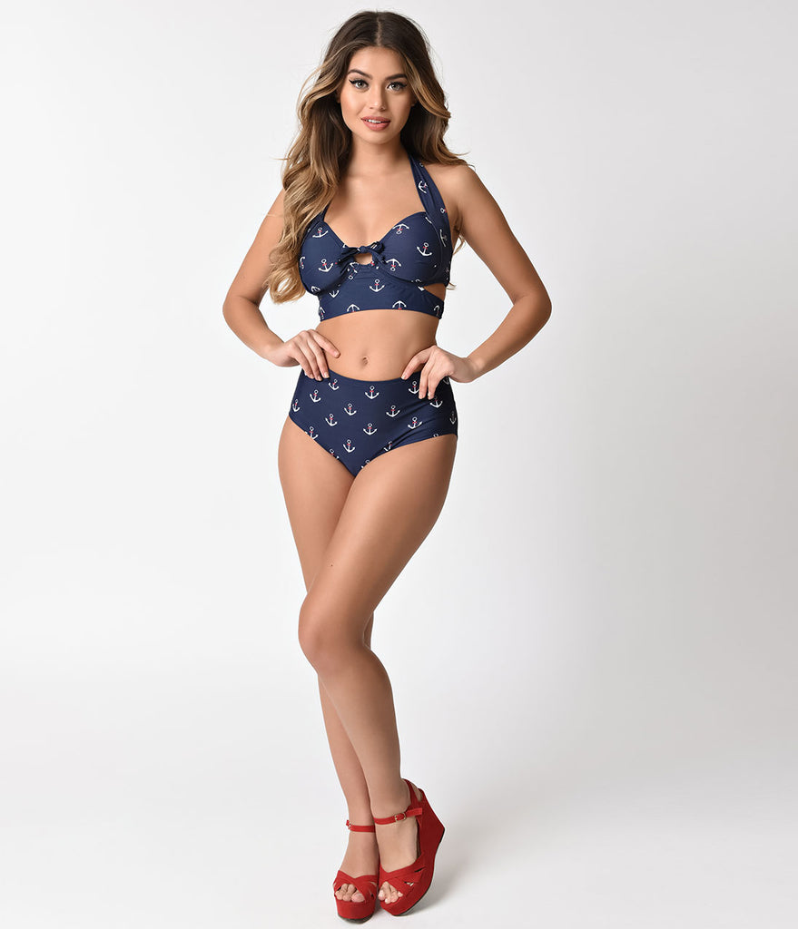 Unique Vintage Navy Blue & White Anchor Print Mrs Peggy Swim Bottom
