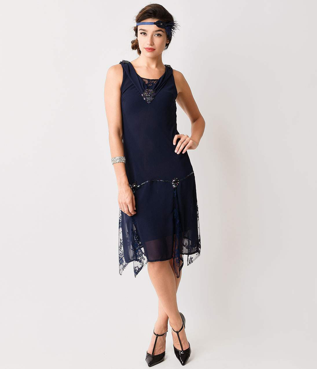 Roaring 20s Costumes- Flapper Costumes, Gangster Costumes Unique Vintage Navy Hemingway Flapper Dress $74.00 AT vintagedancer.com