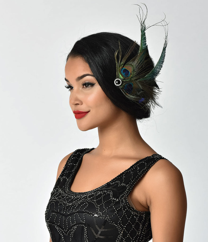 Unique Vintage Peacock Feather & Black Veil Hair Clip