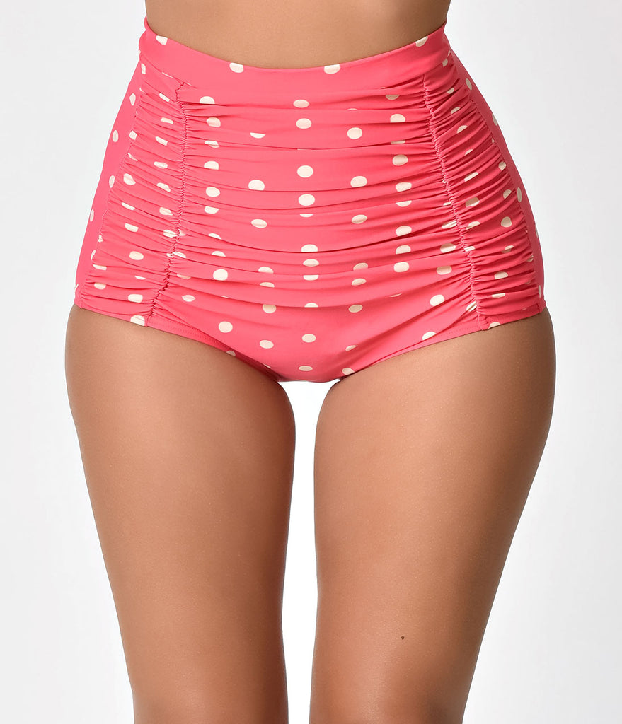 Unique Vintage Pink & Ivory Dotted Monroe Swim Bottom