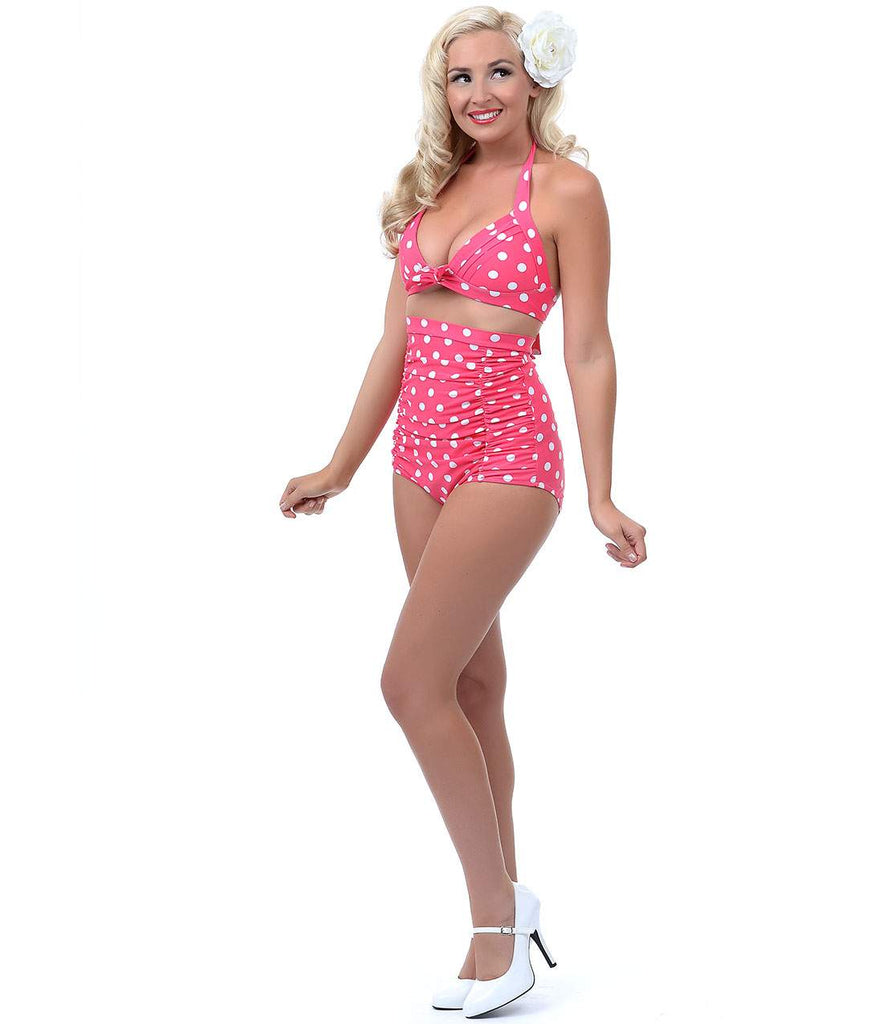 Unique Vintage Pink & White Polka Dot Monroe High Waist Bikini Bottom