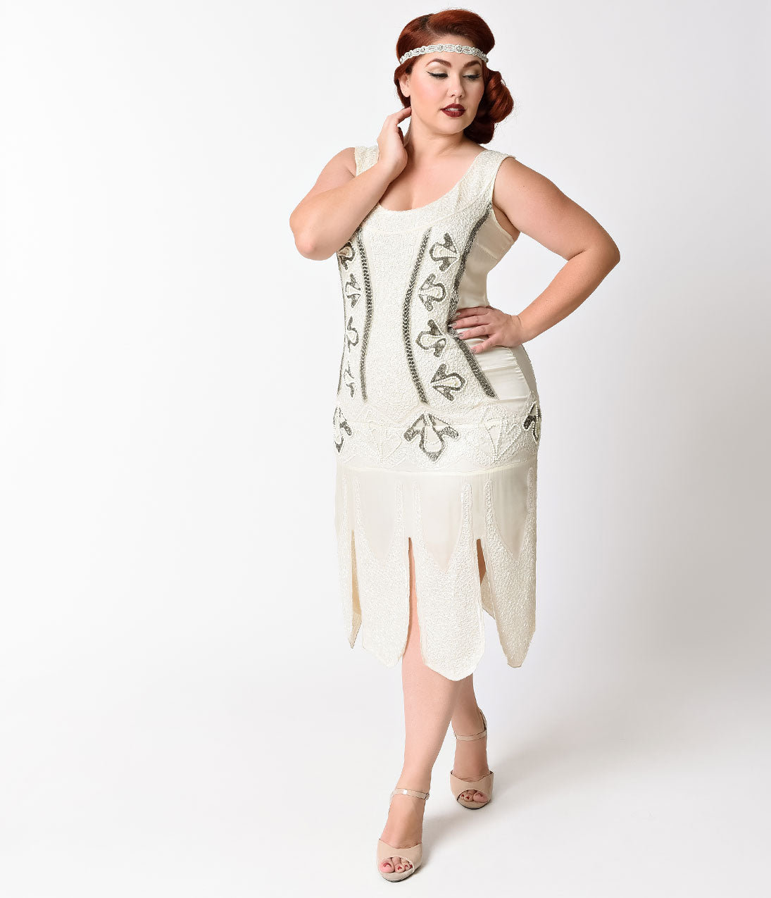 Roaring 20s Costumes- Flapper Costumes, Gangster Costumes Unique Vintage Plus Size 1920S Antique Ivory Beaded Sateen Eleanor Flapper Dress $53.00 AT vintagedancer.com