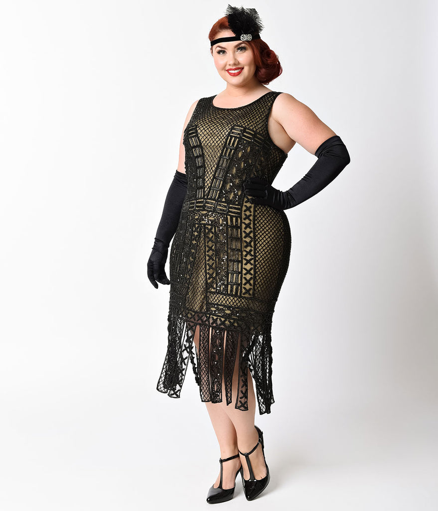 Unique Vintage Plus Size 1920s Black & Nude Beaded Lattice Wharton Flapper Dress