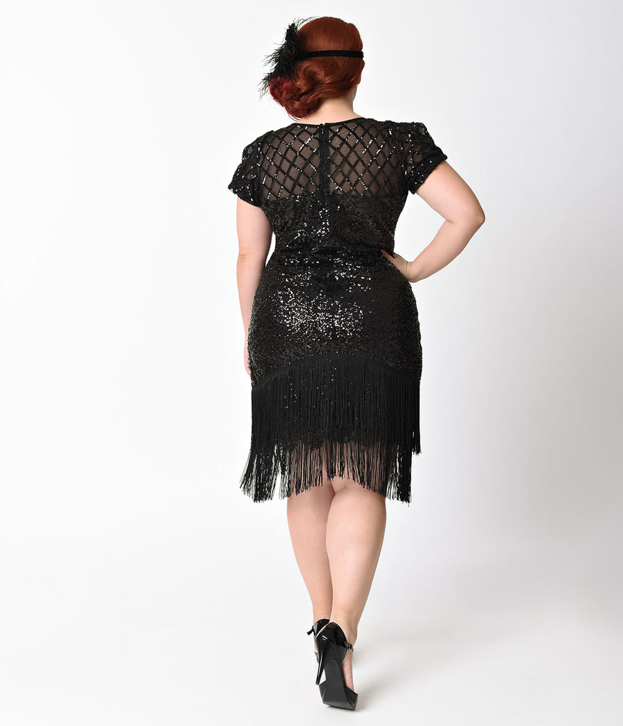 Unique Vintage Plus Size 1920s Black Sequin Fringe Del Mar Flapper Dress