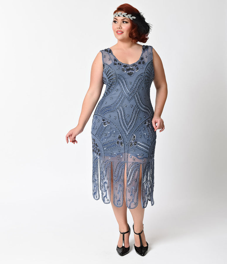 Unique Vintage Plus Size 1920s Style Dusty Blue Beaded Sinclair Flapper Dress