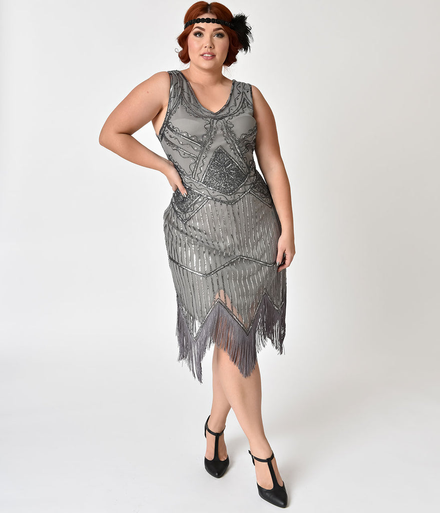 Unique Vintage Plus Size 1920s Grey Beaded Sequin Juliette Fringe Flapper Dress