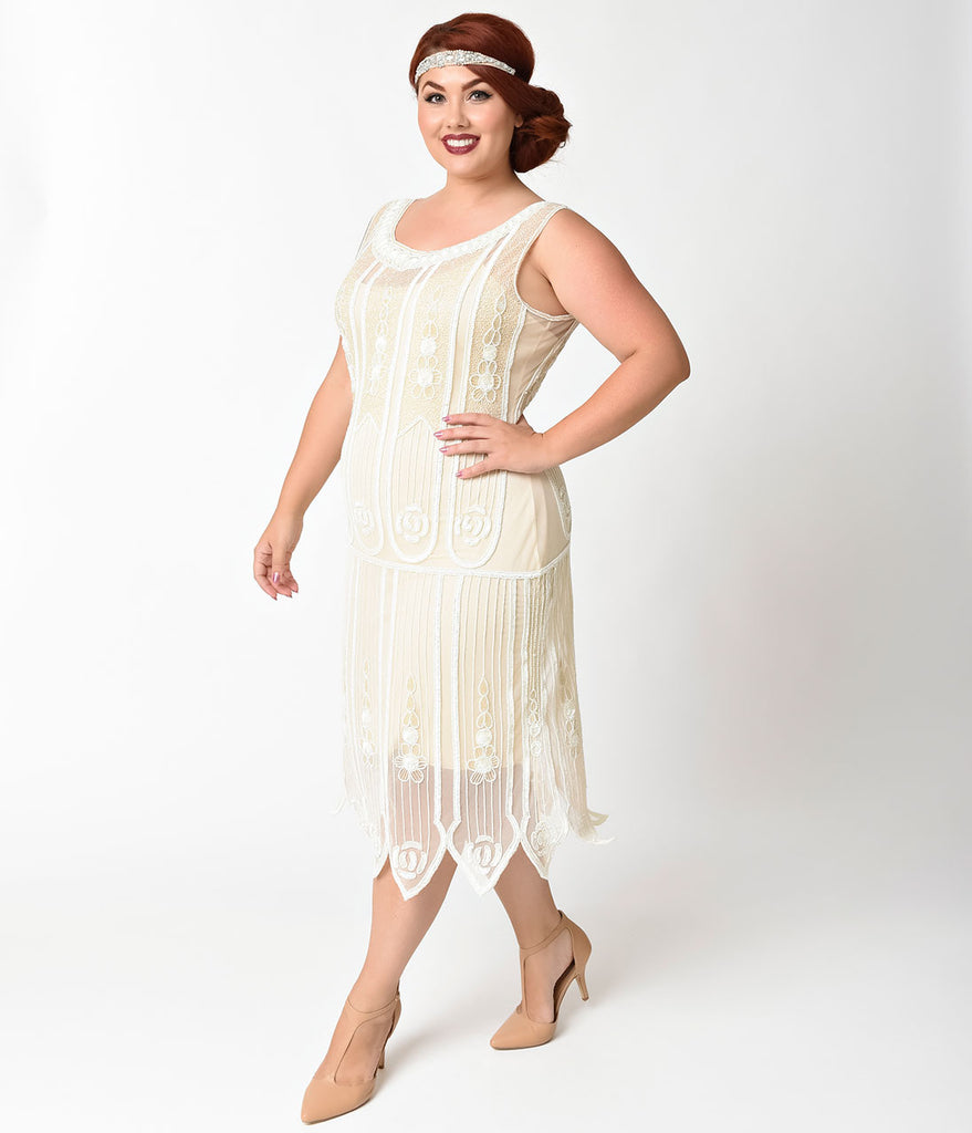 Unique Vintage Plus Size 1920s Ivory Beaded & Sequin Steinway Flapper Dress