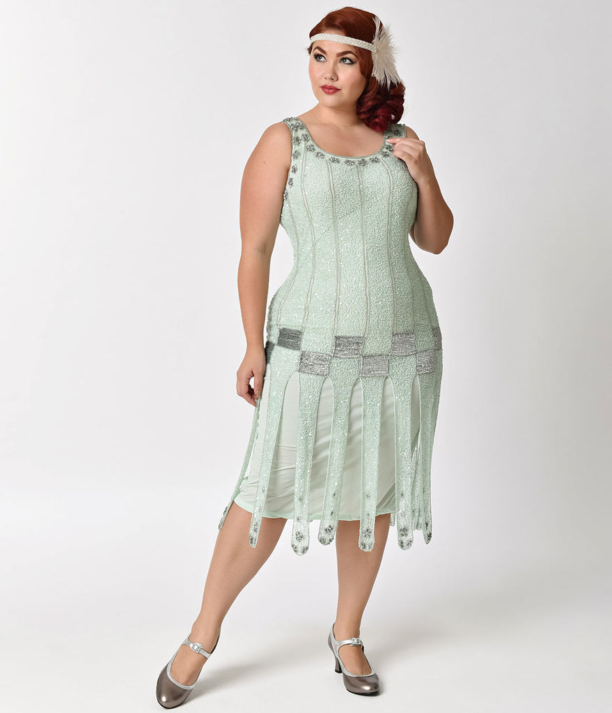 Unique Vintage Plus Size 1920s Mint & Silver Beaded Hart Flapper Dress