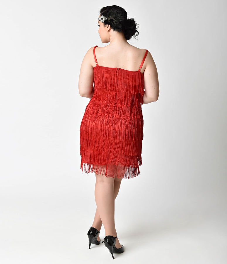 Unique Vintage Plus Size 1920s Style Red Speakeasy Tiered Fringe Flapper Dress