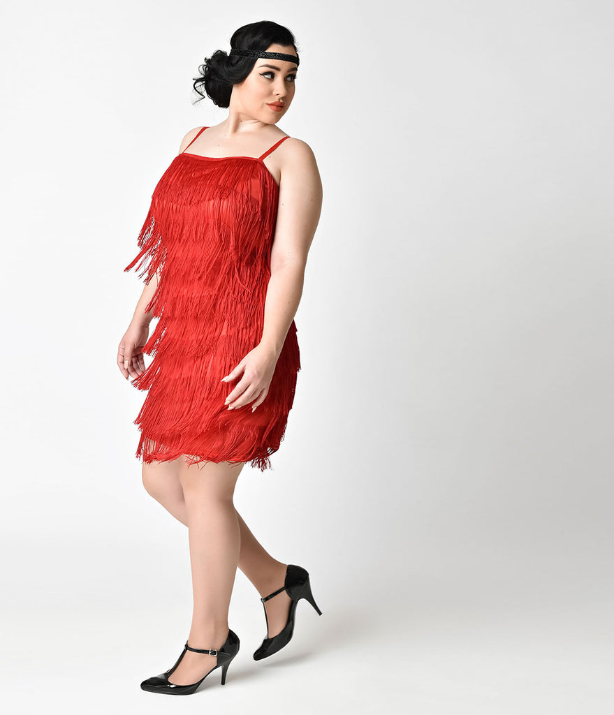 unique vintage plus size 1920s style red speakeasy tiered fringe flapp