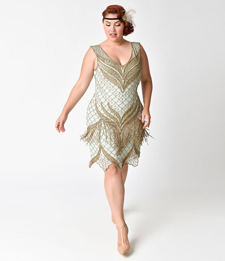 Unique Vintage Plus Size 1920s Seafoam & Antique Gold Beaded Bayou Flapper Dress
