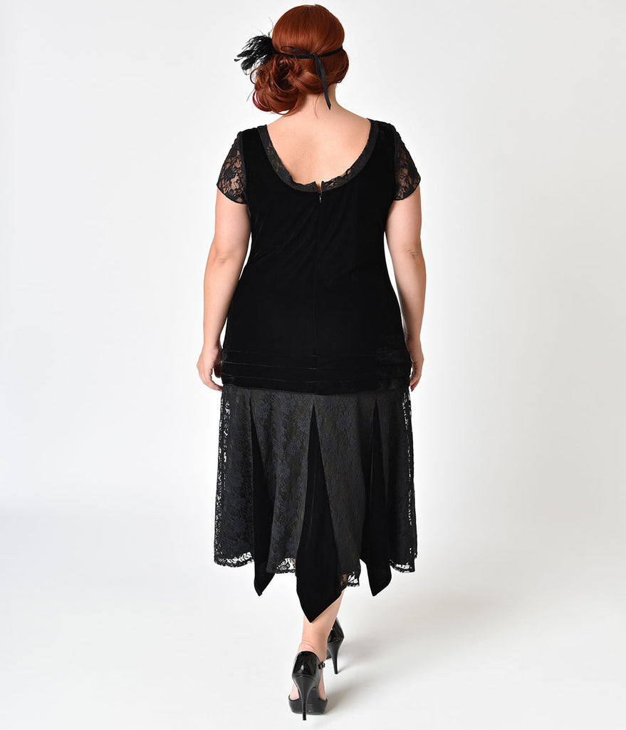 Unique Vintage Plus Size 1920s Style Black Velvet Short Sleeve Millie Flapper Dress