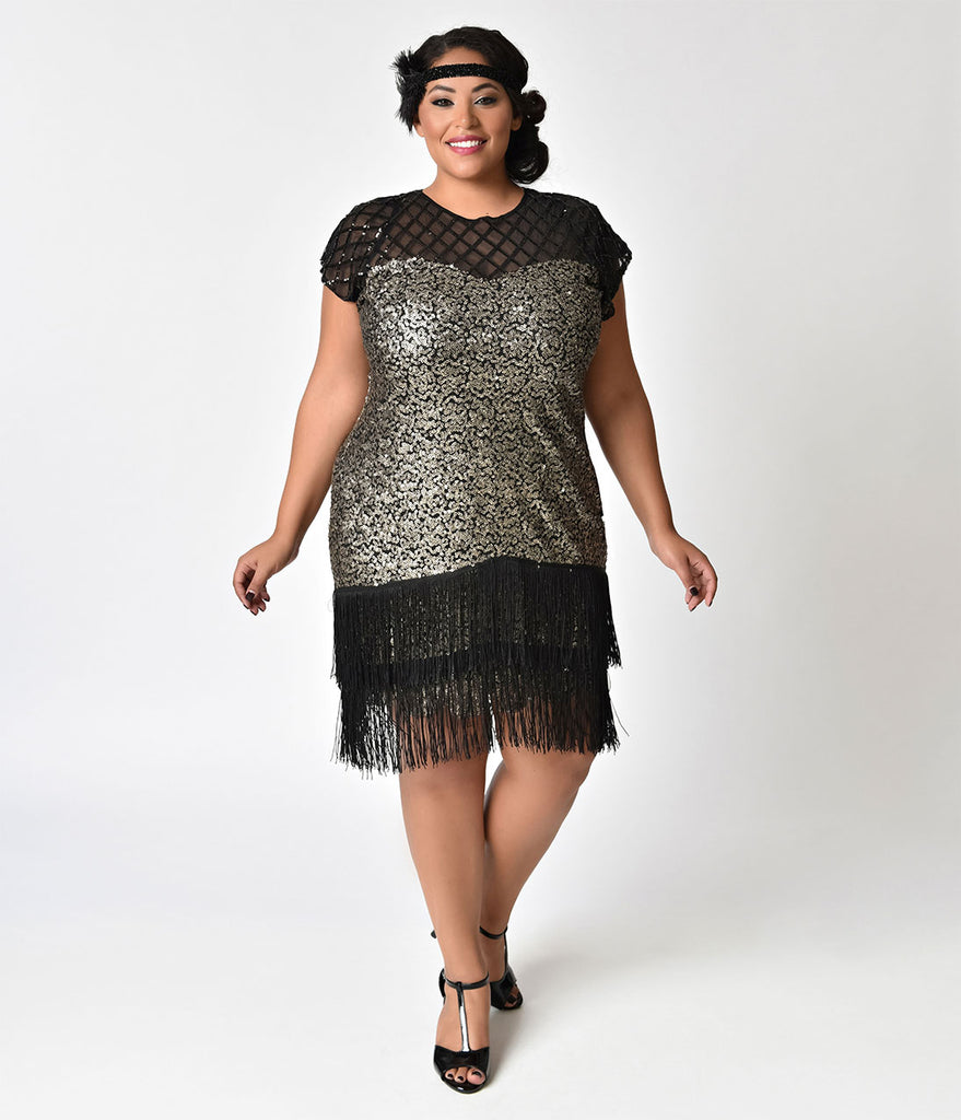 Unique Vintage Plus Size 1920s Gunmetal Sequin Fringe Del Mar Flapper