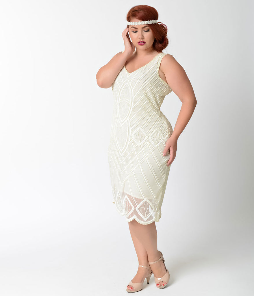 Unique Vintage Plus Size 1920s Style Ivory Beaded Dorothea Flapper Dress