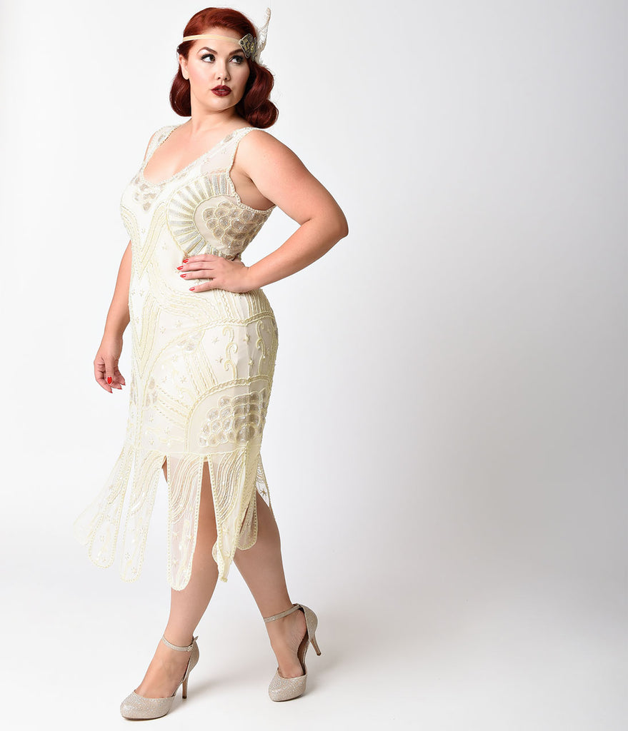 Unique Vintage Plus Size 1920s Style Ivory Beaded Sinclair Flapper Dress