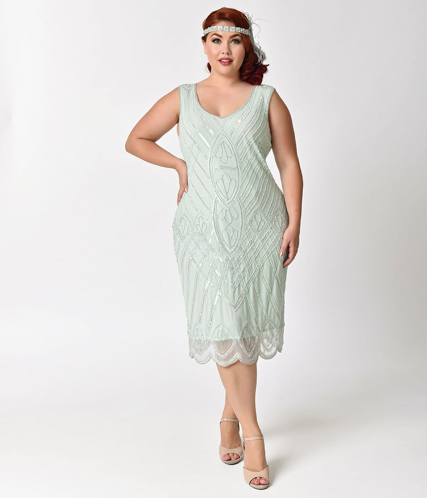 Unique Vintage Plus Size 1920s Style Mint Beaded Dorothea Flapper Dress