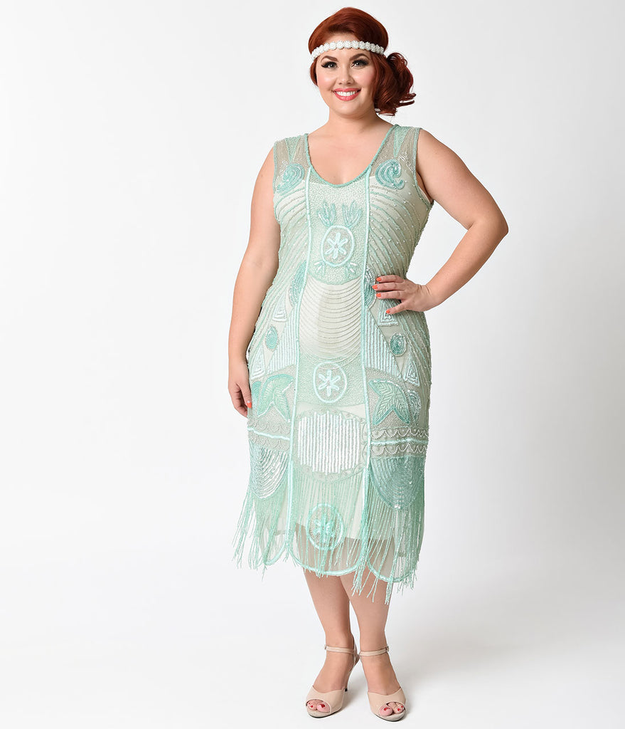 Unique Vintage Plus Size 1920s Style Mint Beaded Fringe Bosley Flapper Dress