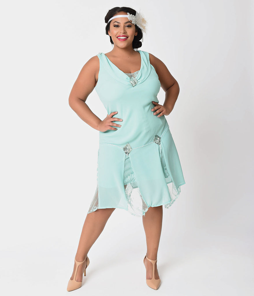 Unique Vintage Plus Size 1920s Style Mint Hemingway Flapper Dress