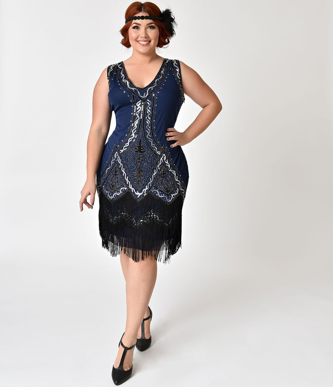 Roaring 20s Costumes- Flapper Costumes, Gangster Costumes 1920S Style Navy Blue Beaded Sylvie Flapper Dress $74.00 AT vintagedancer.com