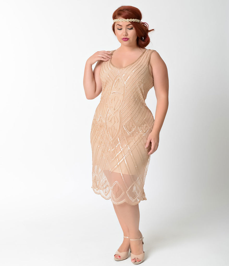Unique Vintage Plus Size 1920s Style Peach Beaded Dorothea Flapper Dress