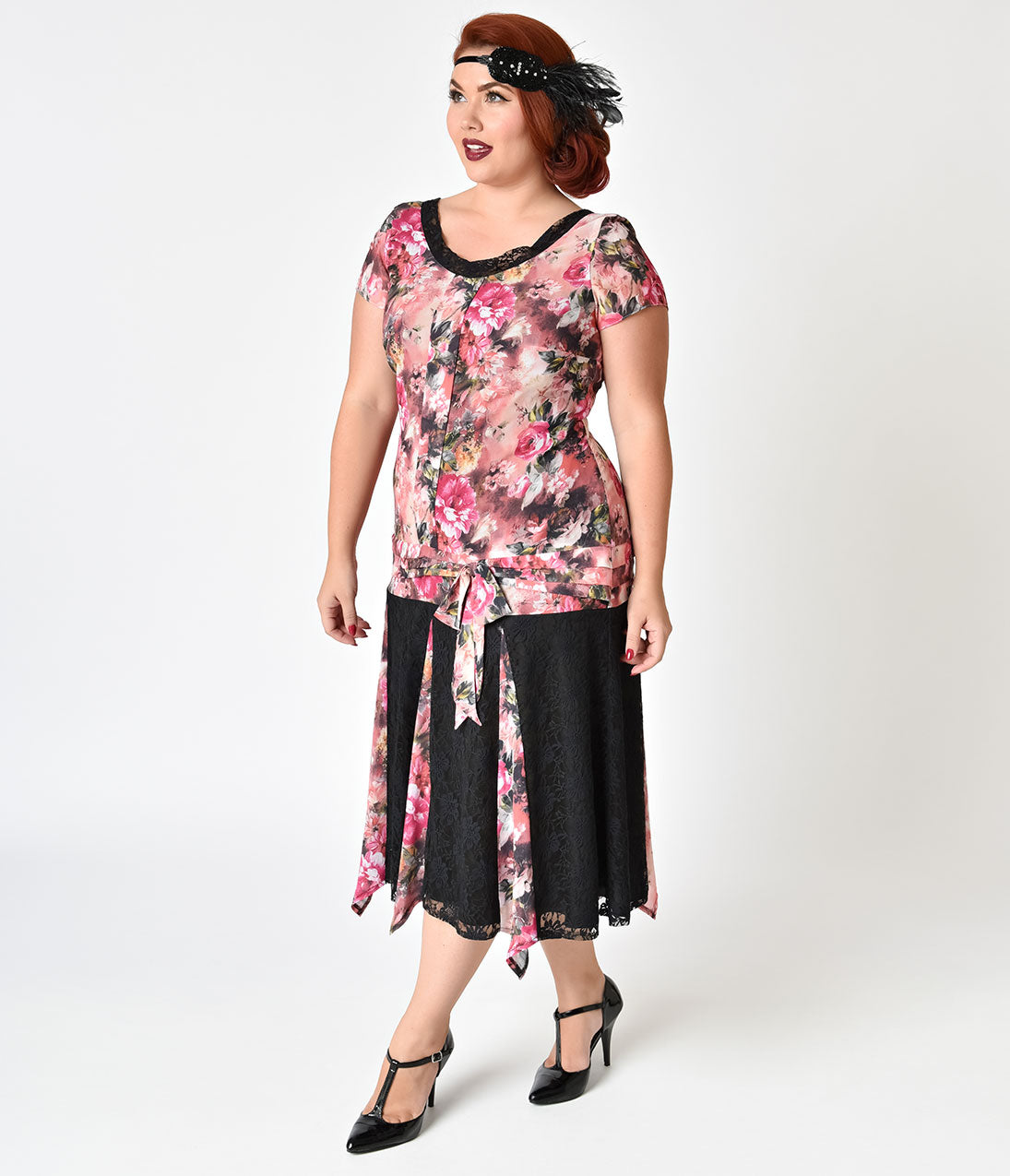1920s Style Dresses, Flapper Dresses 1920s Style Pink Floral Chiffon Millie Flapper Day Dress $62.00 AT vintagedancer.com