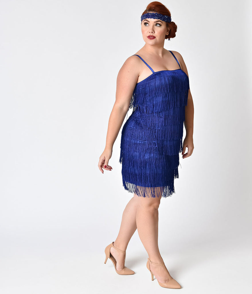 Unique Vintage Plus Size 1920s Style Royal Blue Speakeasy Tiered Fringe Flapper Dress