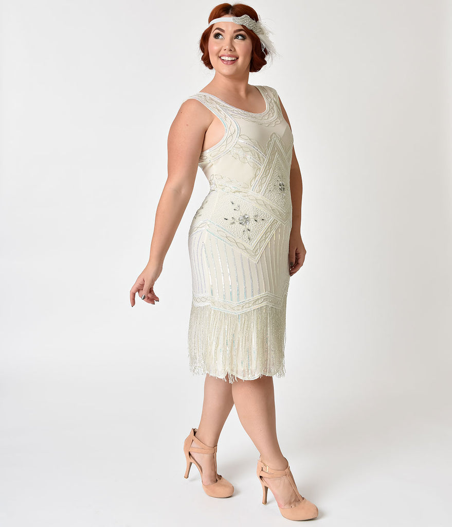 Unique Vintage Plus Size 1920s Style White & Silver Beaded Ines Cockta