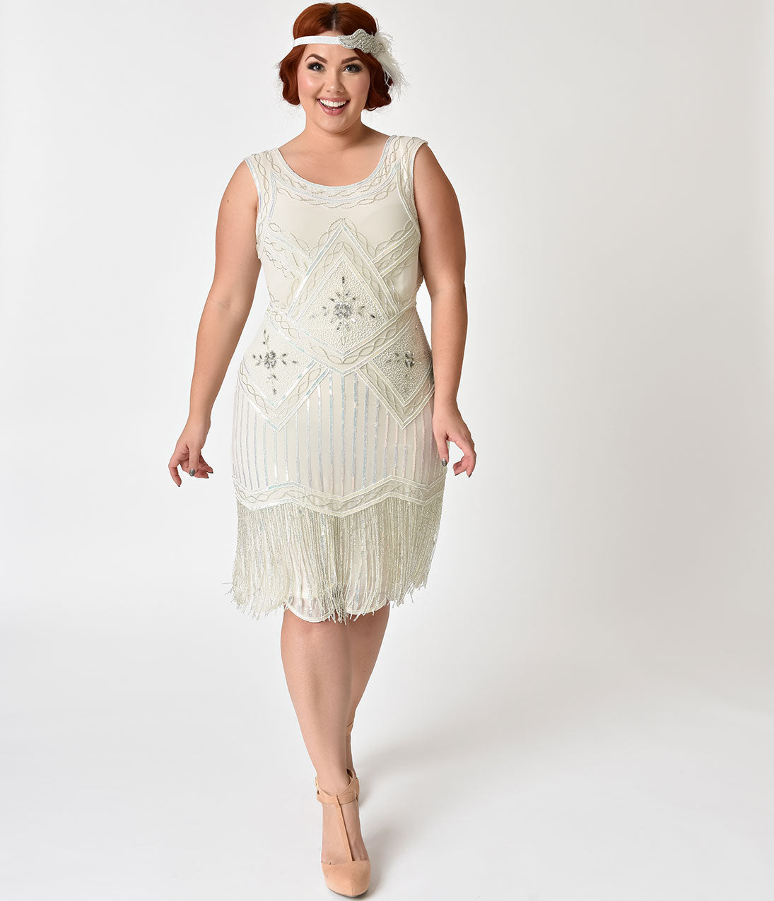 1920s Style Dresses, Flapper Dresses Plus Size 1920s Style White  Silver Beaded Ines Cocktail Dress $96.00 AT vintagedancer.com