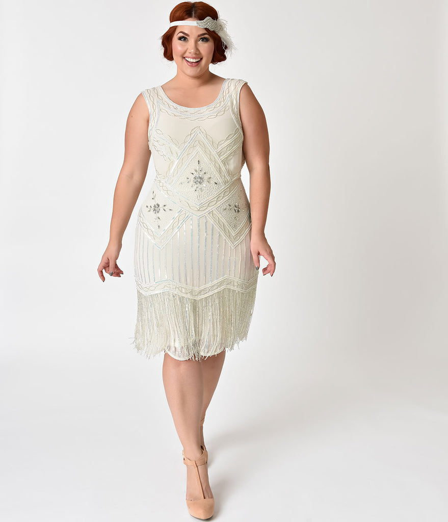 Unique Vintage Plus Size 1920s Style White Silver Beaded Ines Cockta