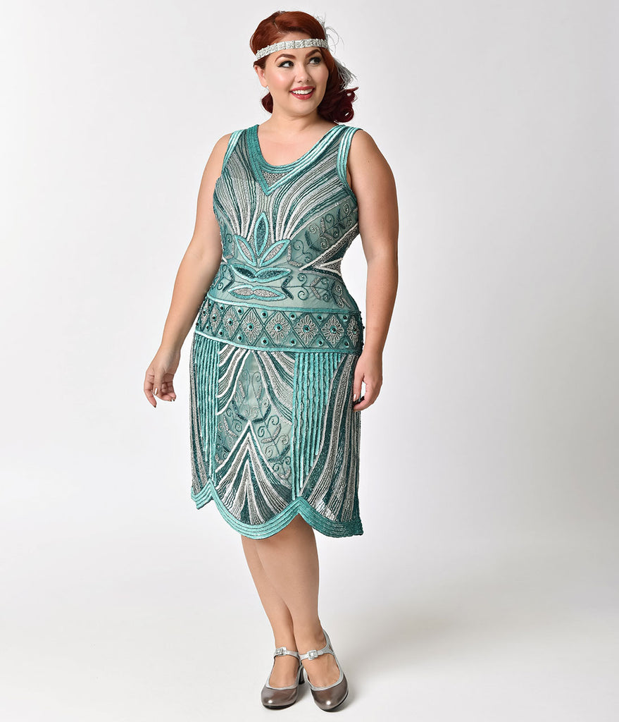 Unique Vintage Plus Size 1920s Style Teal & Silver Deco Beaded Caspian Flapper Dress