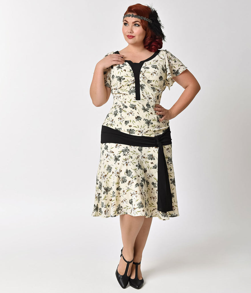 Unique Vintage Plus Size 1930s Cream & Floral Ridley Flapper Day Dress
